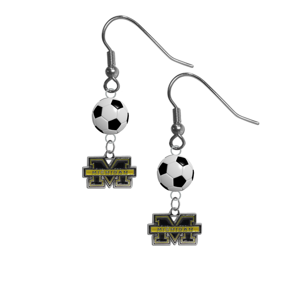 Michigan Wolverines NCAA Soccer Dangle Earrings