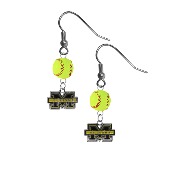 Michigan Wolverines NCAA Fastpitch Softball Dangle Earrings