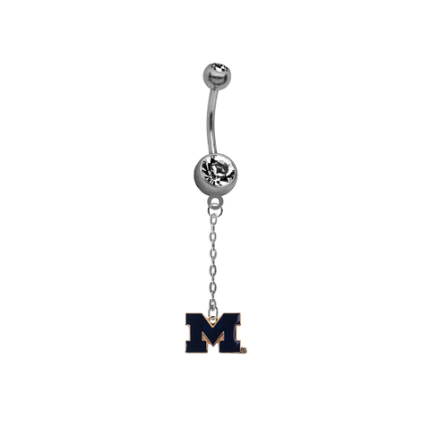 Michigan Wolverines Style 2 Dangle Chain Belly Button Navel Ring