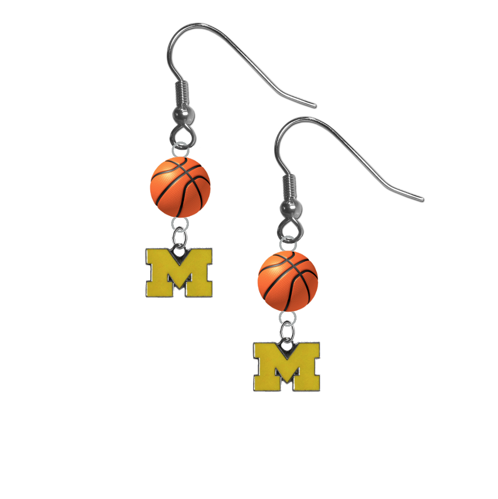 Michigan Wolverines Style 3 NCAA Basketball Dangle Earrings