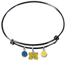 Michigan Wolverines Style 3 BLACK Expandable Wire Bangle Charm Bracelet