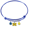 Michigan Wolverines Style 3 BLUE Expandable Wire Bangle Charm Bracelet