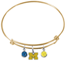 Michigan Wolverines Style 3 GOLD Expandable Wire Bangle Charm Bracelet