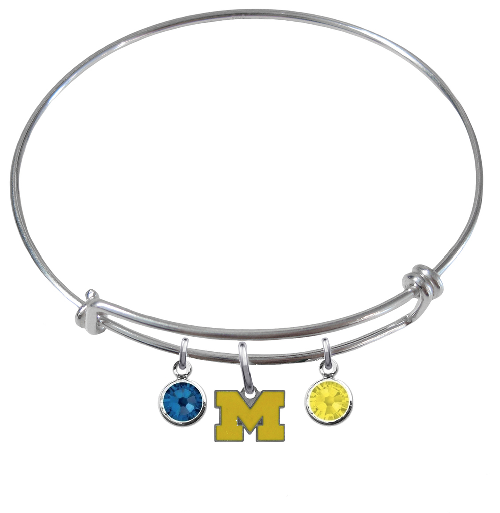 Michigan Wolverines Style 3 NCAA Expandable Wire Bangle Charm Bracelet