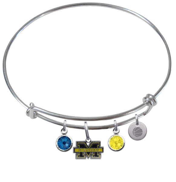 Michigan Wolverines Basketball Expandable Wire Bangle Charm Bracelet