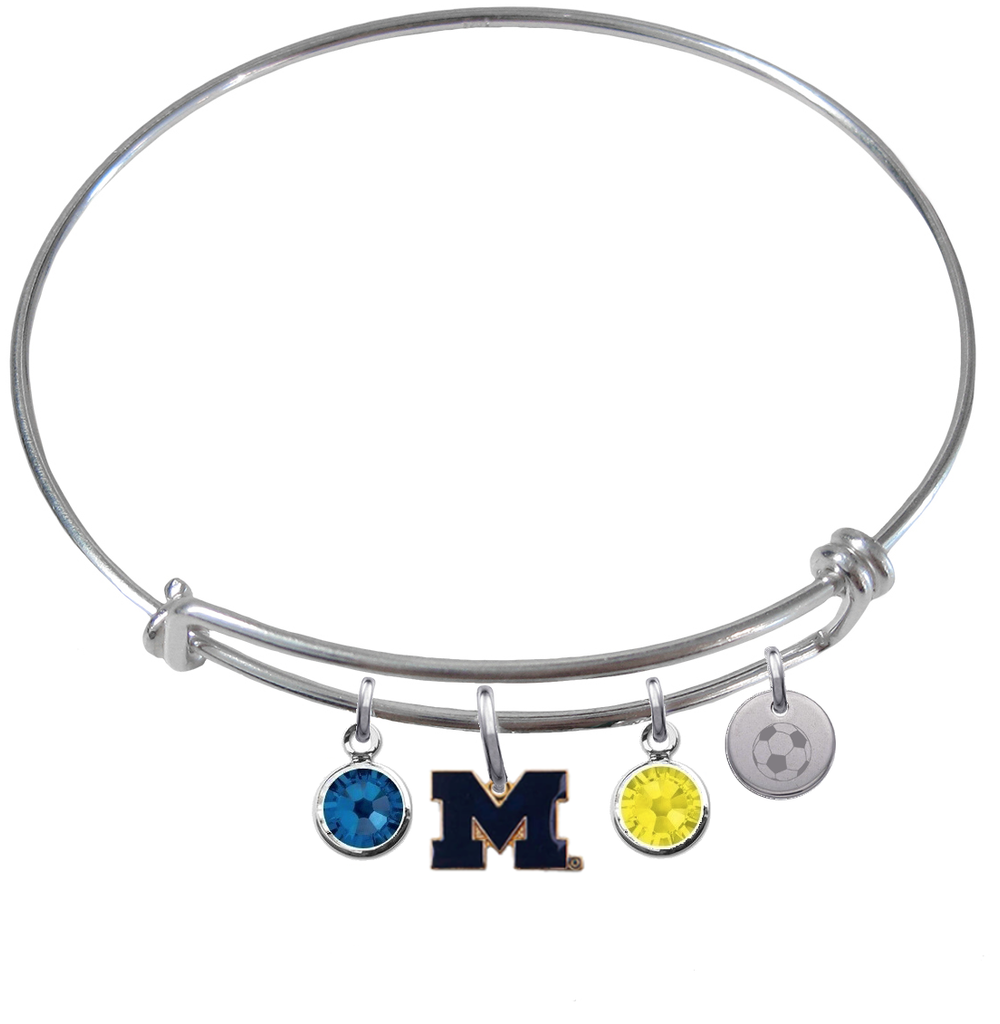 Michigan Wolverines Style 2 Soccer Expandable Wire Bangle Charm Bracelet