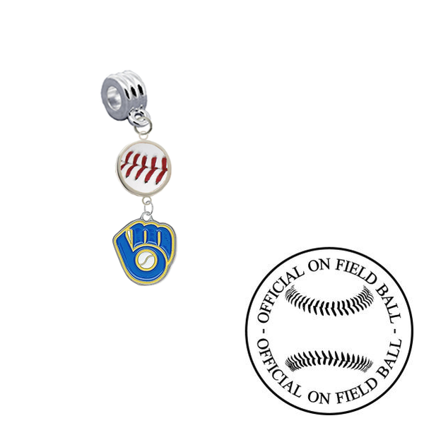 Milwaukee Brewers 2 On Field Baseball Universal European Bracelet Charm (Pandora Compatible)