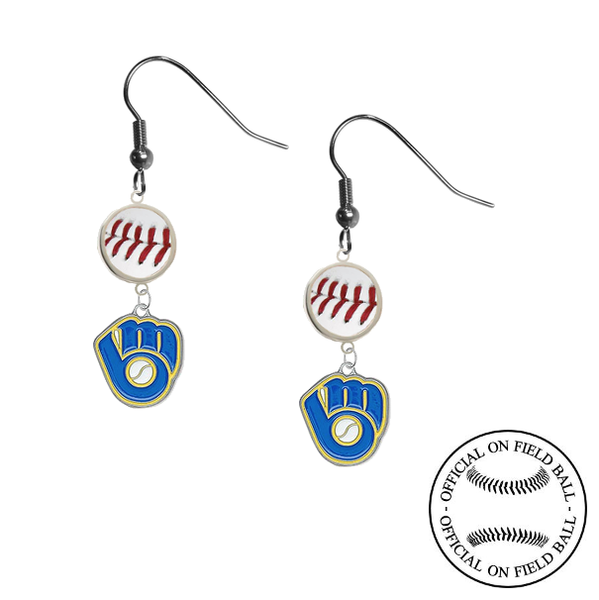 Milwaukee Brewers Retro MLB Authentic Rawlings On Field Leather Baseball Dangle Earrings