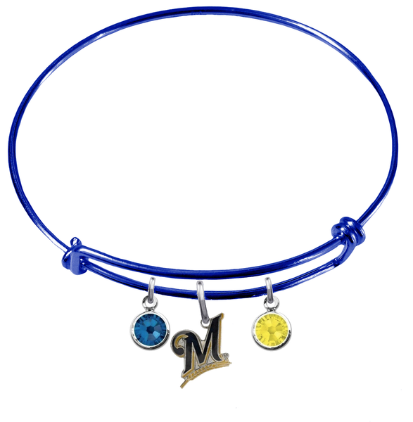 Milwaukee Brewers Blue MLB Expandable Wire Bangle Charm Bracelet