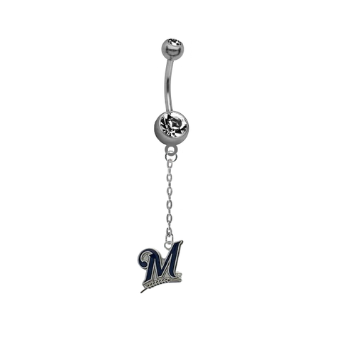 Milwaukee Brewers Dangle Chain Belly Button Navel Ring