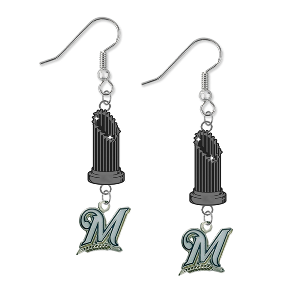 Milwaukee Brewers MLB World Series Trophy Dangle Earrings
