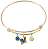 Milwaukee Brewers Gold MLB Expandable Wire Bangle Charm Bracelet