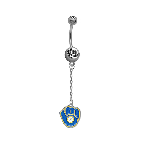 Milwaukee Brewers Retro Dangle Chain Belly Button Navel Ring