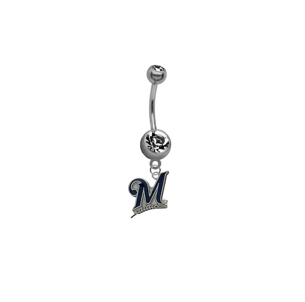 Milwaukee Brewers MLB Baseball Belly Button Navel Ring