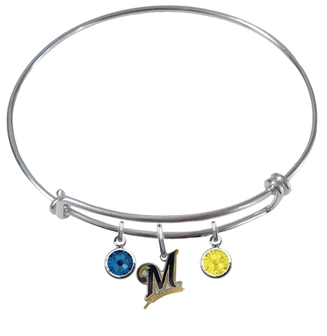 Milwaukee Brewers MLB Expandable Wire Bangle Charm Bracelet
