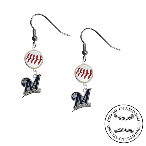 Milwaukee Brewers MLB Authentic Rawlings On Field Leather Baseball Dangle Earrings