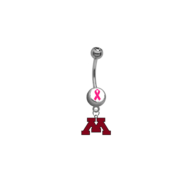 Minnesota Golden Gophers Breast Cancer Awareness Belly Button Navel Ring