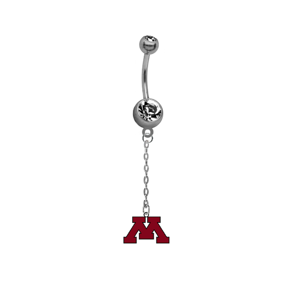 Minnesota Golden Gophers Dangle Chain Belly Button Navel Ring