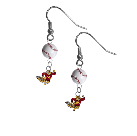Minnesota Gophers Mascot NCAA Baseball Dangle Earrings