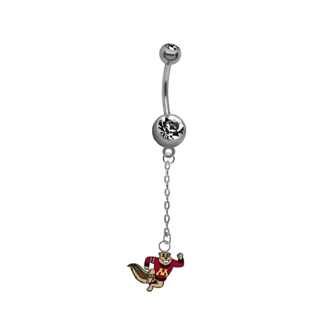 Minnesota Golden Gophers Mascot Dangle Chain Belly Button Navel Ring