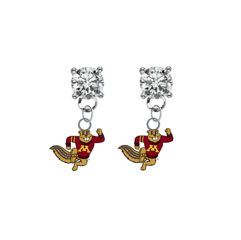 Minnesota Gophers Mascot CLEAR Swarovski Crystal Stud Rhinestone Earrings