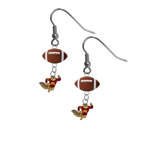 Minnesota Gophers Mascot NCAA Football Dangle Earrings