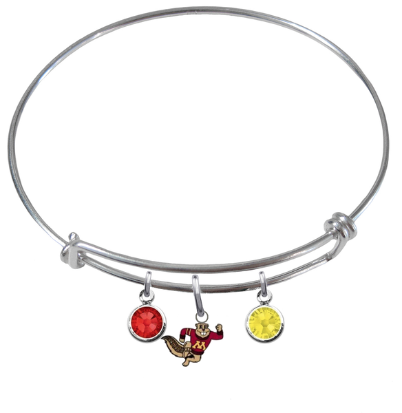 Minnesota Golden Gophers Mascot Logo NCAA Expandable Wire Bangle Charm Bracelet