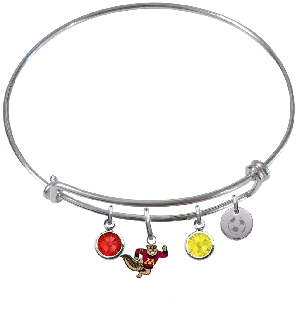 Minnesota Gophers Mascot Soccer Expandable Wire Bangle Charm Bracelet