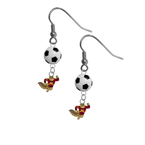 Minnesota Gophers Mascot NCAA Soccer Dangle Earrings
