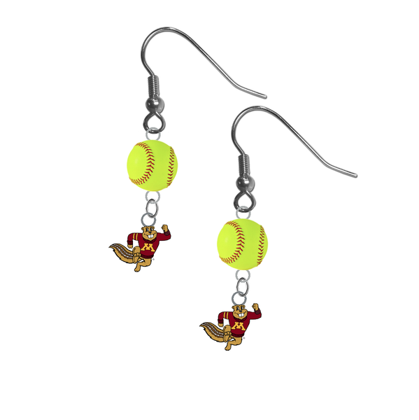 Minnesota Gophers Mascot NCAA Fastpitch Softball Dangle Earrings