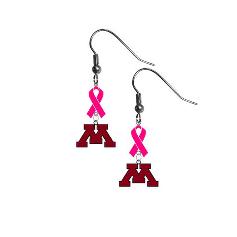 Minnesota Gophers Breast Cancer Awareness Hot Pink Ribbon Dangle Earrings