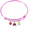 Minnesota Gophers PINK Color Edition Expandable Wire Bangle Charm Bracelet