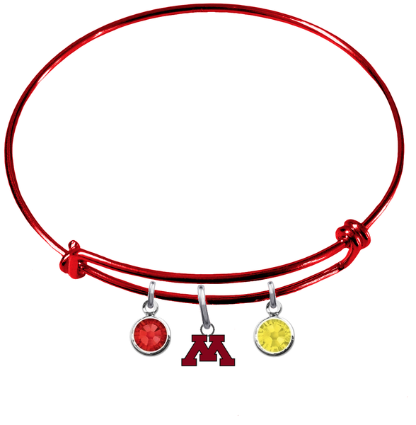 Minnesota Gophers RED Color Edition Expandable Wire Bangle Charm Bracelet