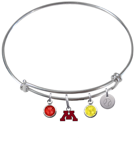 Minnesota Gophers Baseball Expandable Wire Bangle Charm Bracelet