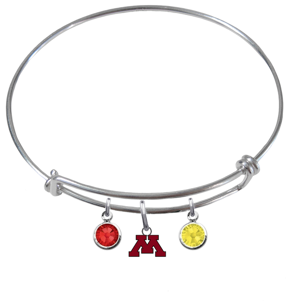 Minnesota Golden Gophers NCAA Expandable Wire Bangle Charm Bracelet