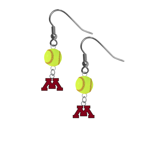Minnesota Gophers NCAA Fastpitch Softball Dangle Earrings