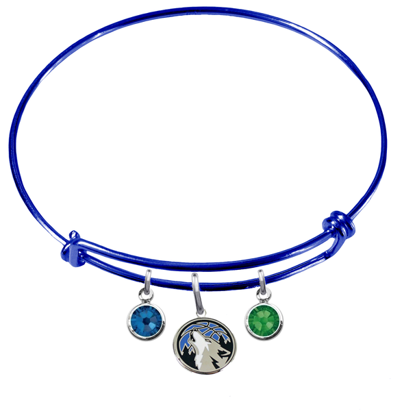 Minnesota Timberwolves BLUE Color Edition Expandable Wire Bangle Charm Bracelet