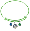 Minnesota Timberwolves LIME GREEN Color Edition Expandable Wire Bangle Charm Bracelet