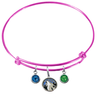 Minnesota Timberwolves PINK Color Edition Expandable Wire Bangle Charm Bracelet