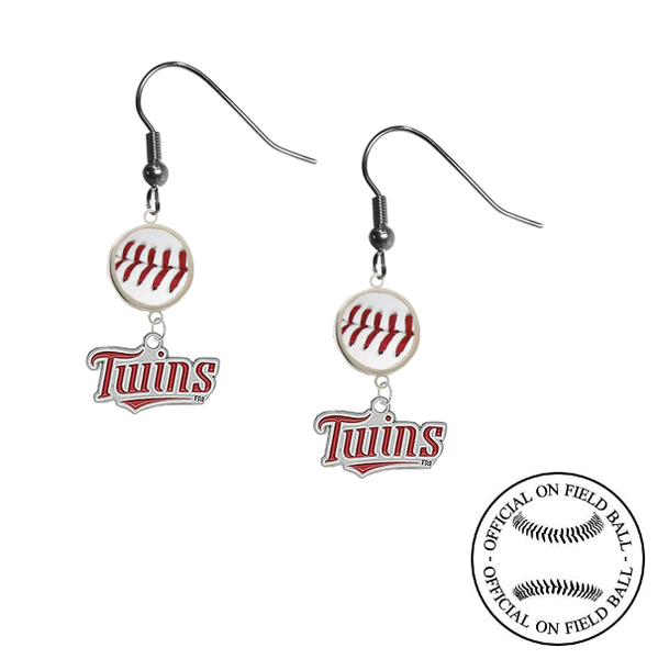 Minnesota Twins MLB Authentic Rawlings On Field Leather Baseball Dangle Earrings
