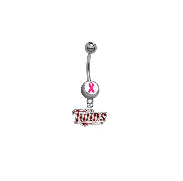 Minnesota Twins Breast Cancer Awareness Belly Button Navel Ring