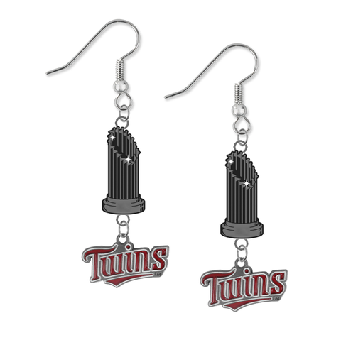 Minnesota Twins MLB World Series Trophy Dangle Earrings