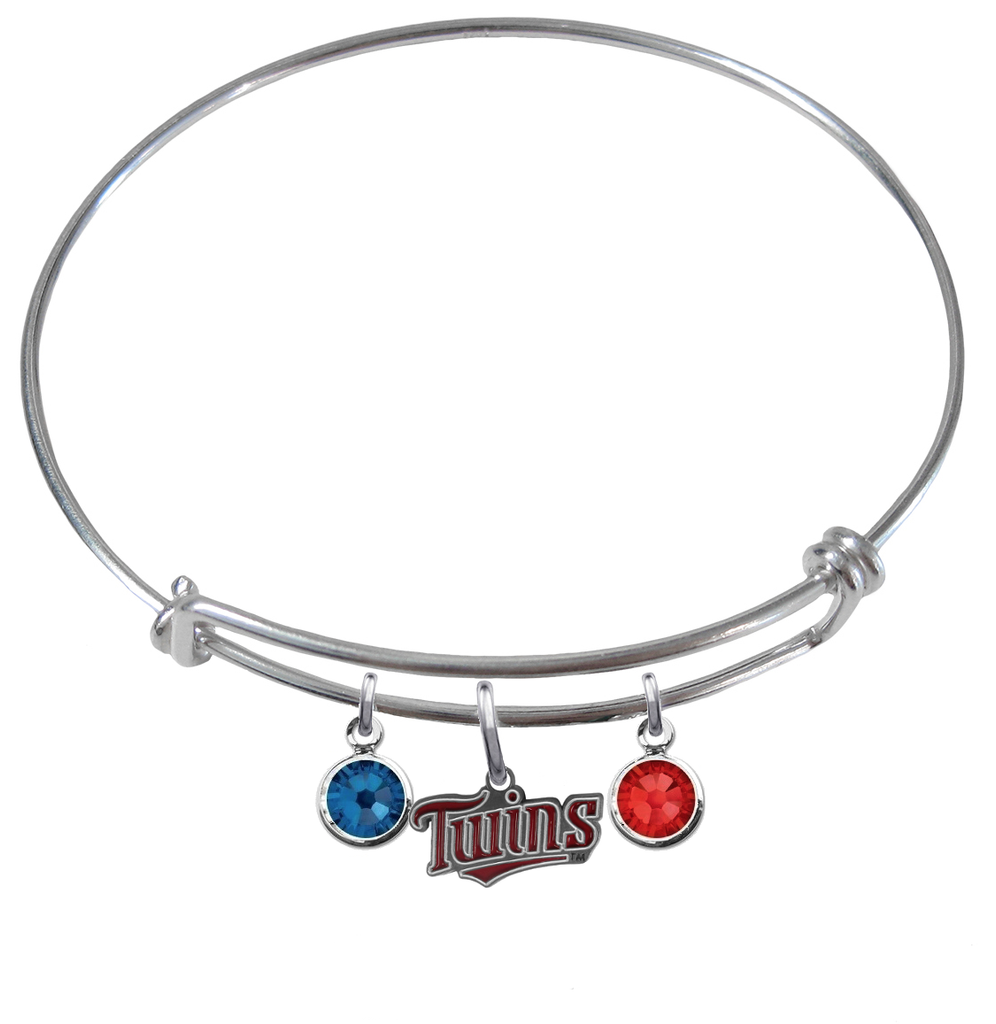 Minnesota Twins MLB Expandable Wire Bangle Charm Bracelet