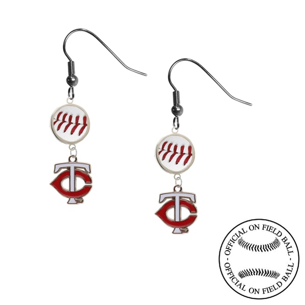 Minnesota Twins Style 2 MLB Authentic Rawlings On Field Leather Baseball Dangle Earrings