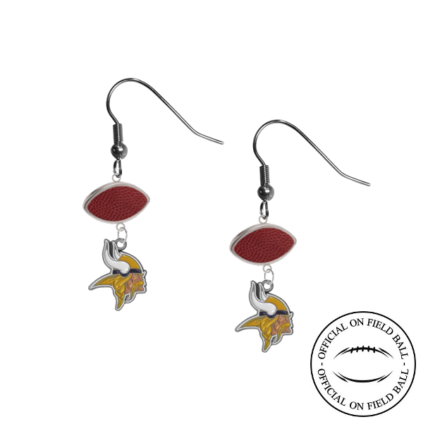 Minnesota Vikings NFL Authentic Official On Field Leather Football Dangle Earrings