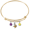 Minnesota Vikings Gold NFL Expandable Wire Bangle Charm Bracelet
