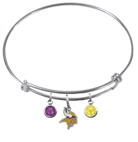 Minnesota Vikings NFL Expandable Wire Bangle Charm Bracelet