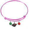 Minnesota Wild Color Edition PINK Expandable Wire Bangle Charm Bracelet