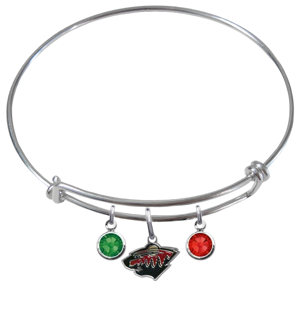 Minnesota Wild NHL Expandable Wire Bangle Charm Bracelet