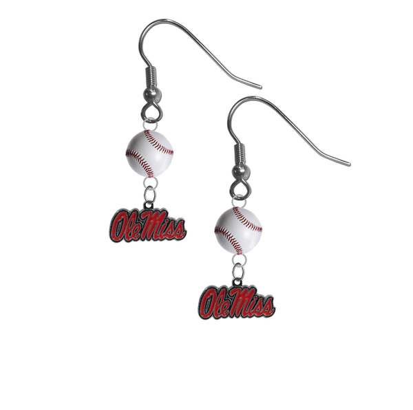 Mississippi Rebels NCAA Baseball Dangle Earrings